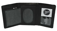 GENUINE LEATHER BADGE ID HOLDER ROUNDED OVAL SHAPE BLACK TRIFOLD WALLET  NEW