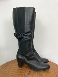 Clarks Knee High Boots, Black Leather, UK 8, Elastic Calf Gusset, Stack Heel