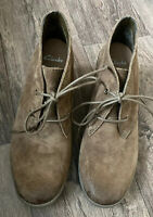 Clarks Active Air Ladies Wedge Heel Lace up Brown Suede Boots Wide Fit Size 6DUK