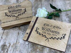 Personalised Wedding Guest Book Christening Memorial Scrapbook Album Wooden