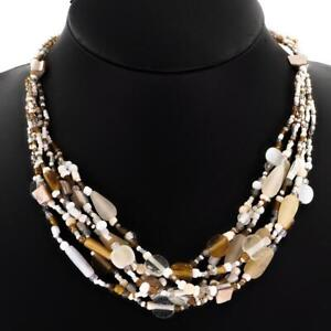 """20"""" HANDBEADED PEARL WHITE GOLD SEED BEADS MINERAL MOP CHIPS necklace"""