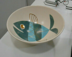Rare Large Mid Century Modern Hand Painted Ceramic Bowl