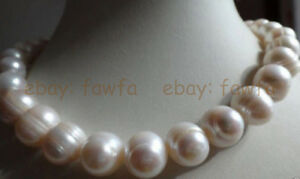 """HUGE Natural AAA 11-12MM SOUTH SEA GENUINE WHITE BAROQUE PEARL NECKLACE 18"""""""