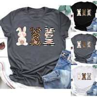 Women Easter Bunny Printing Short Sleeve O-Neck Tee T-Shirt Tunic Blouse Tops AU