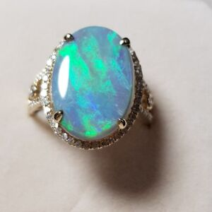 Opal Ring 14K Gold Natural Solid AUSTRALIAN OPAL ring  SIZE 8 OPAL 6.5 CARATS
