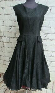 Vintage 1950's Petite Dress Co Black lace Swing dress size UK 12