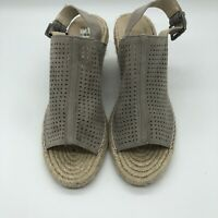 Caslon Perforated Suede Women's Espadrille Wedge Sandals Size 8