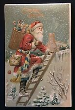 Santa Claus with Fancy Sash on Ladder~Antique Embossed Christmas~Postcard~b893