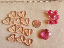 Pink acrylic beads, hearts-rondelle-rectangle, 18 pcs