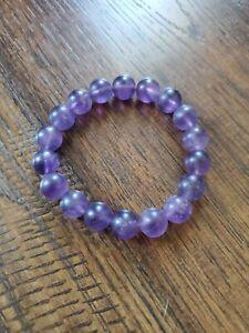 Matte Purple Amethyst Bombshell Bead Bracelet