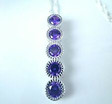 "GORGEOUS SILVER AMETHYST 5 STONE PENDANT + 18"" SILVER CHAIN."