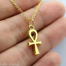 Yellow Gold Religious ANKH Cross Charm Pendant Necklace Egyptian Peace Faith NEW