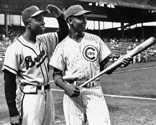 1957 Braves HANK AARON & Cubs ERNIE BANKS Glossy 8x10 Photo @ Sportsman Park