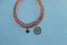 orange stretchy tattoo choker necklece with sunflower Tibetan silver charm-retro