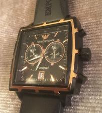 Emporio Armani Classic Chronograph AR 0595 schwarz rotgold Designer-Uhr