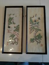 Pair Of Chinese Oriental cut out Paper Art Bird Pictures - Framed
