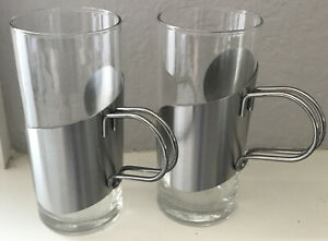 2 MCM Style Irish Coffee Tea Cups W/Stainless Holders Steel-Function Denmark