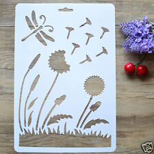 DIY Craft Dandelion Dragonfly Paper Painting Stencil Drawing Template Decorative