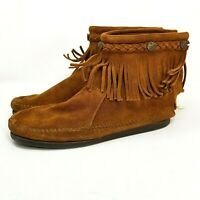 Minnetonka size 9.5 Leather Fringe Zip Up Moccasin Ankle Boots Womens boho suede