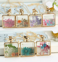 Square Natural Dried Flower Long Pendant Necklace Glass Locket Pendant Necklace
