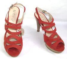 UNISA - Sandales talons 11 cm + plateau cuir velours rouge 40 - TRES BON ETAT