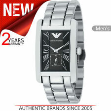 Emporio Armani Classic Men's Watch│Black Rectangle Dial│Bracelet Strap│AR0156