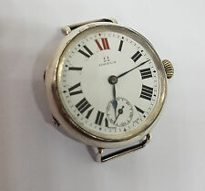 RARE 1914-18 W.W.I  OMEGA MILITARY SOLID SILVER WHITE ENAMEL DIAL MAN'S WATCH