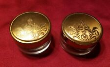 Vtg. American Beauty Deco Vanity Glass Cosmetic Jars w/Lids - Set of 2 - 520