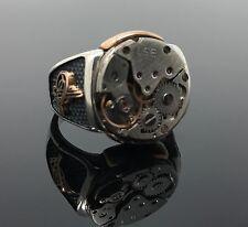 925K Sterling Silver Men's Ring Detailed Clock Mechanism K61J Special Edition