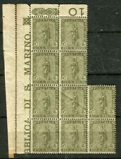 SAN MARINO; 1903 early pictorial issue Mint Block of 5c. value