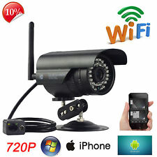 720P WiFi HD  Waterproof Wireless IR IP Network Security Camera P2P +12V Power