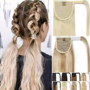 Russian Wrap Ponytail 100% Human Hair Clip in Pony Tail Hair Extensions 20 22 24