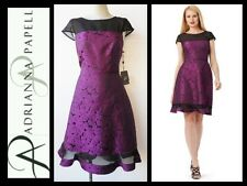 $140 ADRIANNA PAPELL Purple Floral Jacquard Illusion Cocktail Dress ~ 6 M3020