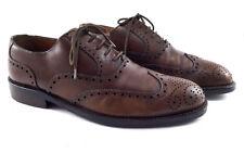 POLLINI Brown Leather Wingtip Brogue Oxford Dress Shoes, Men's Shoes Size US 9.5