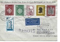 GERMANY POSTAL HISTORY AIRMAIL COVER OLYMPIC SPECIAL FLIGHT AUSTRALIA YR'1956