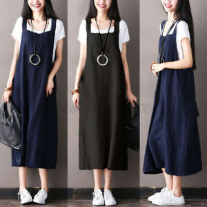 Black M Women Fashion Casual Holiday Buttons Pinafores Dungaree Long Dress Plus