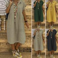 Womens Short Sleeve Casual Loose Shift Dress Plain Solid Midi Sundress Plus Size