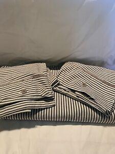 Ikea NYPONROS Farmhouse Gray White Ticking Stripe 3 pc Queen Duvet Set