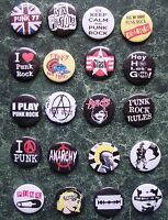 PUNK COLLECTION 20 BADGES SET 4 1INCH / 25MM POSTER   FANCY DRESS Oi ROCKERS