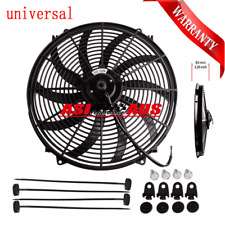 "16"" 16Inch 12V Radiator Reversible Electric Thermo Fan Pull Push Curved Blade AU"