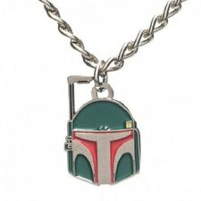OFFICIAL STAR WARS BOBA FETT CLOSE UP FACE PENDANT ON METAL NECKLACE *BRAND NEW*
