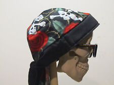 Skulls and Roses Skull Cap Do Rag with Sweatband.  MADE IN USA!!!
