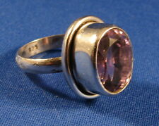 Striking Genuine Faceted Amethyst Solitaire Silver Ring  Size 7.75     AR135C