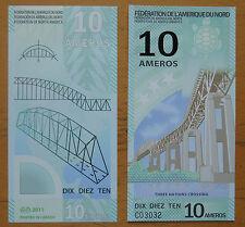 FEDERATION OF NORTH AMERICA 10 AMEROS POLYMER BANKNOTE 2011 UNC