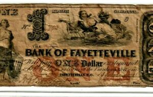 "$1 ""BANK OF FAYETTEVILLE"" 1800'S ""NORTH CAROLINA"" (RED)   BEAUTIFUL NOTE !!!!!!"