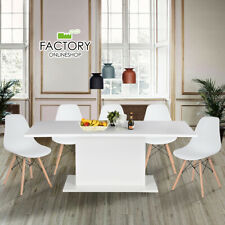 Extendable Dining Table 4-8 Seaters Kitchen Furniture Modern Glossy White Board