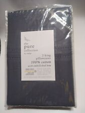 The Pure Collection By Indigo 2 King Pillowcases Blue Cotton Embellished Hem NEW