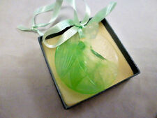 1989 Daum Crystal Ornament Laurel Berry Green Pate de Verre w/orig box