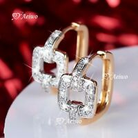 18K YELLOW GOLD GF HUGGIE CLEAR CRYSTAL SQUARE FASHION EARRINGS