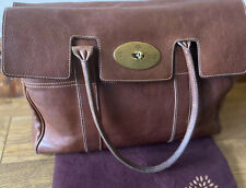 MULBERRY BAYSWATER Natural DarkTan Oak Leather Tote 100% Genuine